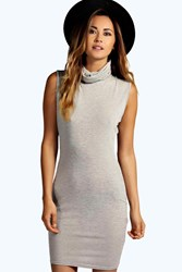 Boohoo Cowl Neck Mini Bodycon Dress Grey