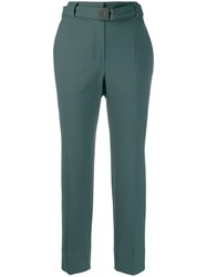 Brunello Cucinelli Belted Cropped Trousers Green