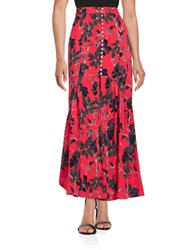 Free People Floral Crepe Maxi Skirt Pimento Combo