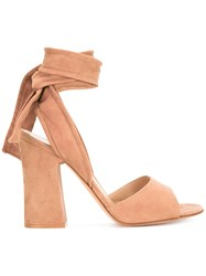 Gianvito Rossi Ankle Tie Sandals Nude Neutrals