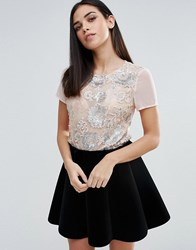 Lipsy Sequin T Shirt Nude Pink
