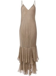 Mes Demoiselles Long Ruffled Dress Nude And Neutrals