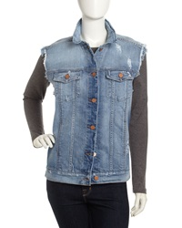 J Brand Ready To Wear Oversized Distressed Denim Boyfriend Vest Riff