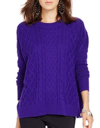Polo Ralph Lauren Cabled Wool Blend Sweater Purple