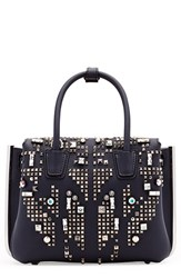 Mcm 'Mini Milla' Studded Leather Tote Blue Navy
