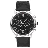 Montblanc 117047 Men's Tradition Chronograph Alligator Leather Strap Watch Black