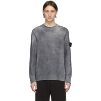 Stone Island Grey Hand Dyed Knit Sweater
