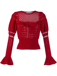 Self Portrait Knitted Lace Top Red