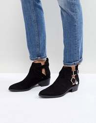 Bershka Cut Out Buckle Western Boots Black