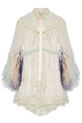 Marc Jacobs Lace Trimmed Embellished Tulle And Chiffon Mini Dress Ivory