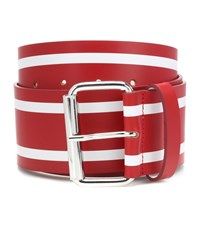 Monse Striped Leather Belt Red