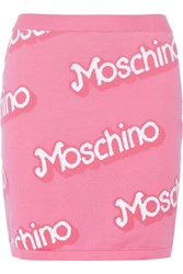 Moschino Intarsia Cotton Mini Skirt Pink