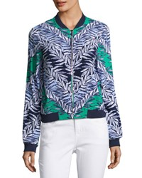 Laundry By Shelli Segal Leaf Print Bomber Jacket Green Blue
