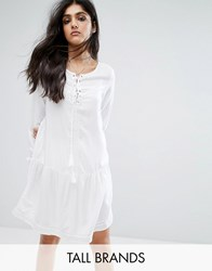 Noisy May Tall Lace Up Skater Dress With Fluted Sleeve Detail White