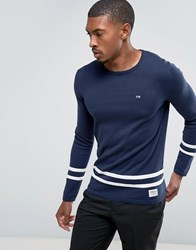 Tom Tailor Knitted Jumper With Hem Stripes Black Iris Blue Navy