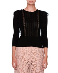 Valentino Lace Trim Knit Cardigan Black
