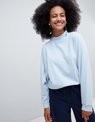Monki High Neck Oversized Sweatshirt In Light Blue