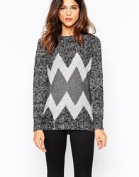 Pussycat London Jumper In Zig Zag Knit Grey