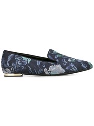 Burberry Floral Print Slippers Blue