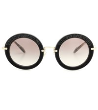 Miu Miu Embellished Round Sunglasses Black