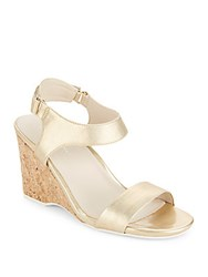 Kenneth Cole Izzy Metallic Wedge Sandals Gold