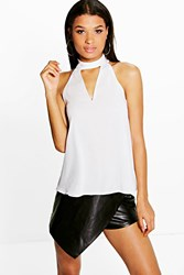 Boohoo Woven High Neck Plunge Blouse Ivory