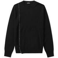 Raf Simons Embroidered R Crew Knit Black