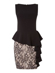 John Zack Short Sleeve Lace Skirt Bodycon Dress Black