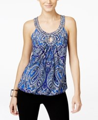 Inc International Concepts Printed Keyhole Halter Top Only At Macy's Blue Finest Paisley