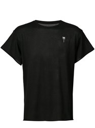 The Elder Statesman Embroidered Palm Knitted T Shirt Black
