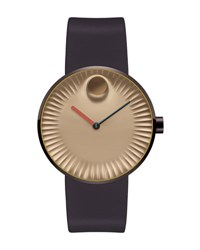 Movado 40Mm Edge Watch With Silicone Strap Brown