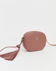 Paul Costelloe Real Leather Oval Cross Body Bag With Tassel Pink