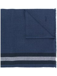 Bally Striped Knitted Scarf Blue