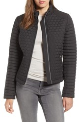 Andrew Marc New York Honeycomb Quilted Moto Jacket Black