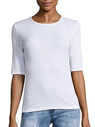 Theory Santea Jewelneck Elbow Length Sleeve Tee Eggshell