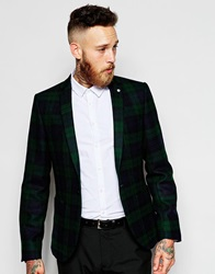 Noose And Monkey Woven In England Tartan Blazer In Skinny Fit Green