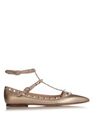 Valentino Rockstud Leather Flats Gold