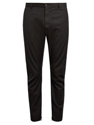 Lanvin Pinstriped Biker Trousers Black