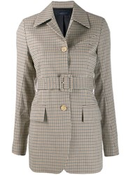 Eudon Choi Plaid Belted Jacket Brown
