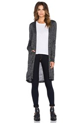 Bobi Bouncy Knit Hooded Cardigan Black And White
