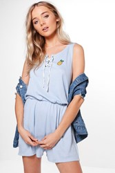 Boohoo Pineapple Embroidered Casual Playsuit Blue