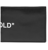 Off White Printed Leather Bifold Wallet Black