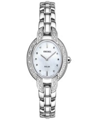 Seiko Women's Solar Tressia Diamond Accent Stainless Steel Bracelet Watch 21Mm Sup323 Silver