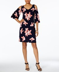 Connected Floral Print Cold Shoulder Dress Navy Pink