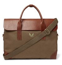 Bennett Winch Cotton Canvas And Full Grain Leather Briefcase Green