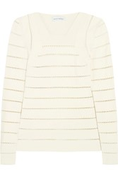Narciso Rodriguez Pointelle Stretch Knit Sweater Ivory