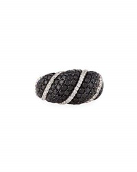 Roberto Coin 18K White Gold Black And White Diamond Ring Size 6.5