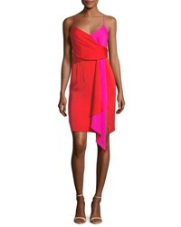 Milly Cindy Two Tone Stretch Silk Dress Tomatoneon Pink