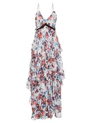 Mary Katrantzou Caliente Solar Rose Print Ruffled Silk Dress Grey Print