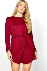 Boohoo Teresa Tie Waist Long Sleeve T Shirt Dress Wine